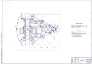 Представлен сборочный чертеж главной передачи, выполненный в масштабе 1:2 для учебного заведения ЖДТУ
