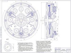 Масштаб чертежа 1:1 (формат А1). Сборочный чертеж сцепления автомобиля ЗИЛ-4331 с техническими требованиями
