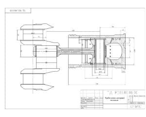 Чертеж кривошипно-шатунного механизма. На чертеже выполнен продольный разрез изделия