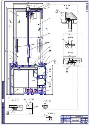 Чертеж сборочный печи полимеризации (формат А1). Масштаб выполнения чертежей 1:10. Указаны разрезы, позиции сборочных узлов и деталей, габаритные размеры, присоединительные размеры
