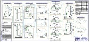 Чертеж принципиальной технологической схемы электрохлоратоной установки (формат 2хА1)