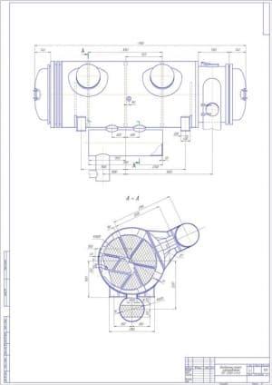 Сборочный чертеж разреза продольного подогревателя сетевого ПСГ-2300-3-8-II в масштабе 1:20, с проставлением размерности (формат А1)