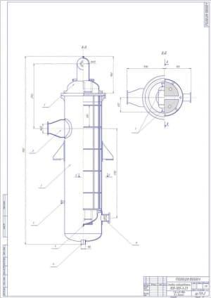 Сборочный чертеж подогревателя сетевого ПСВ-500-3-23 ТЭЦ 405 МВт в г. Канске, в масштабе 1:15, с указанными основными размерами (формат А1)