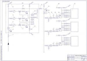 Чертеж схемы газоснабжения станции в масштабе 1:1 (формат А1)