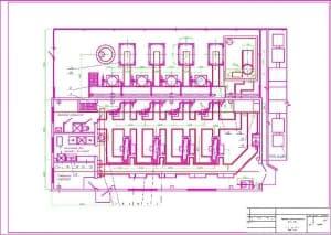 1.Чертеж плана расположения оборудования компрессорной станции 4(З)К-24А, с указанными помещениями: бытовые помещения, помещение для промывки фильтров, помещение оператора (формат А1)