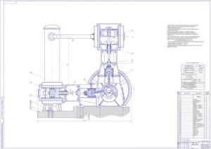 1.Чертеж общего вида компрессора 7ГП в масштабе 1:3, с техническими характеристиками: сжимаемый газ – пропан