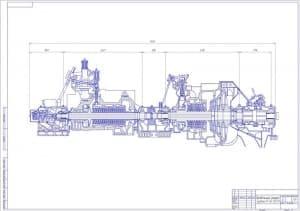 Сборочный чертеж разреза продольного турбины ПТ-60-130/13 в масштабе 1:20, с указанными величинами конструкции (формат А1).