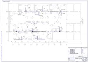 Чертеж схемы силовой сети цеха в масштабе 1:100 с перечнем наименований и с указанием размеров  (формат А1 )