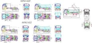 Чертеж общего вида автомобилей грузовых (самосвалов): КамАЗ-6520 и КамАЗ-6522, в различных проекциях – виды сбоку, спереди, сзади и сверху, с указанными габаритными размерами (формат А1)