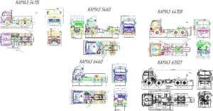 Чертеж общего вида автомобилей грузовых (тягачей): КамА3-54115, КамА3-5460, КамА3-44108, КамА3-6460 и КамА3-63501, в различных проекциях – виды сбоку, спереди, сзади и сверху, с указанными основными параметрами конструкции, габаритными размерами (формат А