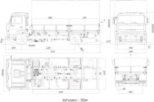 Чертеж вида общего автомобиля грузового КамАЗ бортового модификации 4308