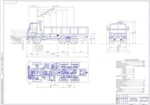 Чертеж вида общего автомобиля грузового КамАЗ 55102 в масштабе 1:20, в различных проекциях
