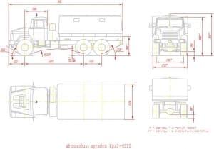 Чертеж общего вида автомобиля грузового КрАЗ-6322 – виды сбоку, спереди, сверху и сзади, с указанными размерами и с примечанием: *-размеры с полной массой