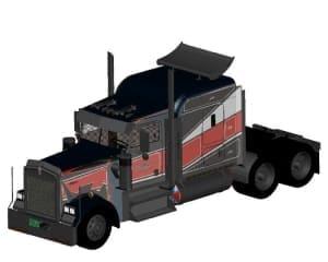 1.Чертеж общего вида автомобиля грузового Kenworth W900 в 3D формате