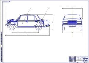 Чертеж общего вида автомобиля ВАЗ с габаритными размерами (формат А1).