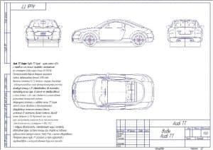 Чертеж общего вида модели автомобиля Audi TT в масштабе 1:50, с техническими характеристиками автомобиля: Аudi TT Соuре (Aуди ТТ Купе) - купе класса «G1» с приводом передним или полным, спроектированное на платформе Volkswagen Group A5 (PQ35). Версия рест