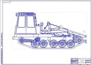 Чертеж общего вида трелевочного трактора ТТ-4М (формат А1)