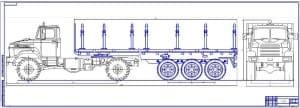 1.Чертеж общего вида автомобиля-лесовоза КРАЗ-5133 с прицепом (формат 2хА1)
