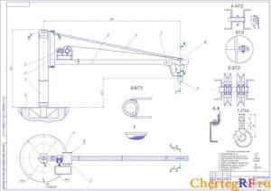 кран поворотный с техническими характеристиками (формат А1)