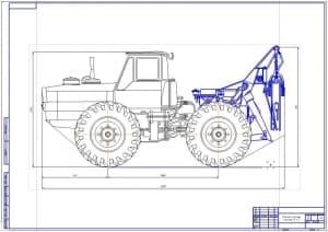 1.Чертеж общего вида лесопромышленного трактора модели ЛТ-157 (формат А1). Выполнен в масштабе 1:10.