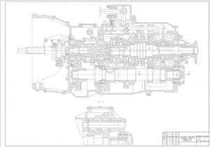 Чертеж общего вида коробки передач автомобиля грузового КамАЗ-55111, модели 15, разреза А-А (формат А1)