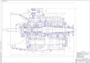 Сборочный чертеж коробки передач автомобиля грузового КамАЗ-53212 в масштабе 1:1, с техническими требованиями: детали, поступающие на сборку должны быть промыты тщательно, а узлы соответствовать требованиям чертежей сборочных