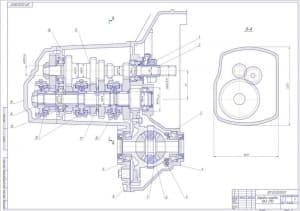 Чертеж сборочный коробки передач автомобиля легкового ВАЗ 2110 в масштабе 1:1, разреза А-А, с проставлением размерности  (формат А1)