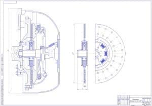 Чертеж общего вида сцепления автомобиля ГАЗ-3307 в масштабе 1:1, с основными параметрами конструкции (формат А1)