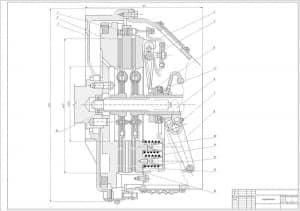 Сборочный чертеж сцепления с основными параметрами конструкции (формат А1)