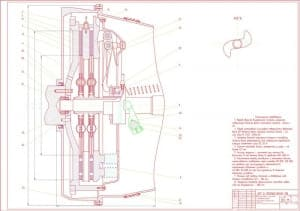 Сборочный чертеж двухдискового сцепления с периферийными пружинами в масштабе 1:1, с техническими требованиями: перед сборкой полость внутреннюю упорного подшипника нужно смазкой ЛИТОЛ-24 заполнить, перед установкой шлицевые поверхности ведомого вала КП н