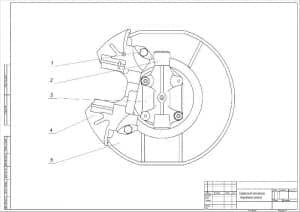 Чертеж сборочный механизма тормозного колеса переднего автомобиля легкового ВАЗ-2107 (формат А2)