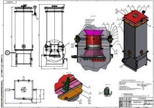 1.Сборочный чертеж газогенератора о.п. на березовых дровах массой 104, в масштабе 1:4, с контрольными размерами для справок, с предельными неуказанными отклонениями размеров Н14, h14