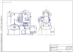 Чертеж общего вида станка зубофрезерного 5Е32 в масштабе 1:1, в 2х проекциях – виды сбоку и спереди (формат А2)