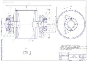 Сборочный чертеж узла барабана массой 30, в масштабе 1:2, с техническими требованиями: угловое смещение деталей не более 1о, сварку проводить швом Т6 катетом не менее 5 мм по Г0СТ 5624-80 по всей длине соприкосновения деталей, подшипники заполнить пластич