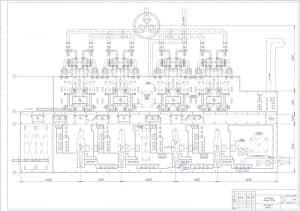 Чертеж плана корпуса главного ТЭЦ 1000МВт с блоками 250МВт в масштабе 1:400, с размерами (формат А1)