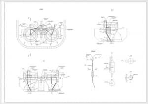 Сборочный чертеж песколовки: общий план, разрезы 1-1, 2-2, с указанием элементов: пульпопровод, разделительный щит, лотки, ось приямка, подводящий лоток, трубопровод опорожнения песколовки, лотки, разделительная стенка, воздуховод, отводящий лоток, опора,