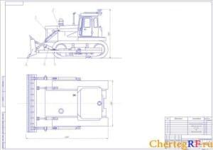 вид общий бульдозера с неповоротным отвалом на базе трактора модели Т-130 (формат А1)