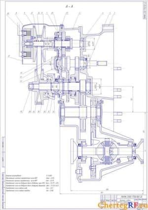 1.Сборочный чертеж вариатора с передачей главной, фланцами полуосей и дифференциалом (вид сверху) с техническими характеристиками: диапазон регулирования - D =4.802
