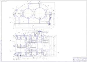 Сборочный чертеж двухступенчатого цилиндрического зубчатого редуктора в масштабе 1:1