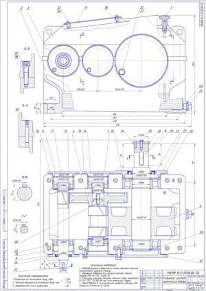 Чертеж сборочный редуктора привода конвейера ленточного с техническими характеристиками: мощность на валу тихоходном – 3.58кВт