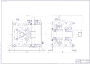 Чертеж сборочный редуктора в двух проекциях: вид спереди и вид сбоку, с указанием размеров (формат А0)