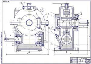 1.Чертеж СБ редуктора червячного в масштабе 1:1, в 2 проекциях – виды спереди и сбоку, с указанием размеров (формат А1)