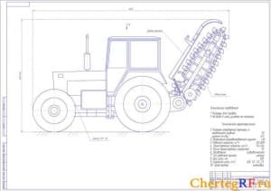 Чертеж в программе Компас общего видаэкскаватора траншейного цепного на базе колесного трактора 1-ЭТЦ на формате А1