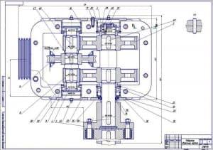 1.Сборочный чертеж червячно-цилиндрического редуктора с габаритными размерами, с разрезом В-В (формат А1)