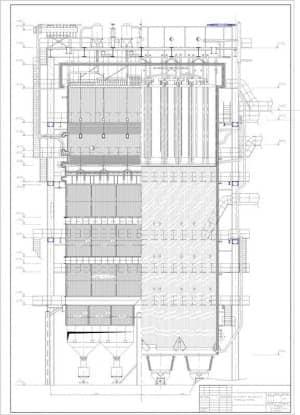 1.Чертеж общего вида котлоагрегата БКЗ 420-140 Б в поперечном разрезе, в масштабе 1:50, с указанными размерами (формат А4)