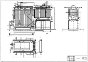 1.Чертеж общего вида котла ДКВР-10-23, в масштабе 1:25, в различных проекциях – виды сбоку, спереди и сверху, с указанными размерами (формат А1)
