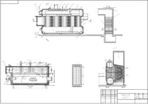 Сборочный чертеж котла парового газомазутного ДE-16-14ГМ в масштабе 1:40, в разрезах А-А, Б-Б, В-В и Г-Г, с указанием размеров (формат А1)