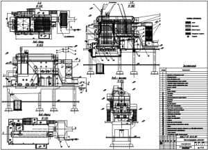 Сборочный чертеж котла ДКВР 10-13 теплогенерирующей установки в различных проекциях – виды с фронта, сбоку и сверху, разрезы 1-1 и 2-2