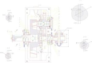 1.Сборочный чертеж редуктора двухступенчатого соосного в разрезах А-А, Б-Б, В-В, Г-Г и Д-Д, с указанием размеров (формат А1)