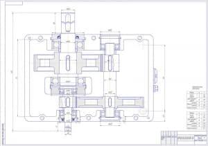 Сборочный чертеж редуктора в масштабе 1:1, с техническими характеристиками зацепления: модуль – 3